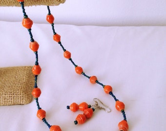 Tangerine paper-bead Necklace with Earrings. Eco friendly.