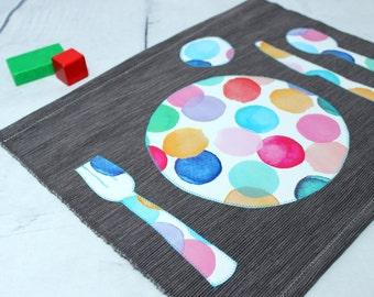 Montessori Placemat, Toddler Fabric Placemat, Kids Place Mat, Grey, Montessori Practical Life