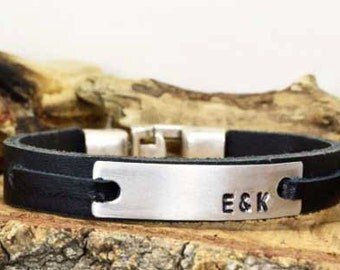 Men's personalized bracelet,Men bracelet,Custom Personalized Bracelet,hand stamped bracelet,Engraved,Aluminum plate