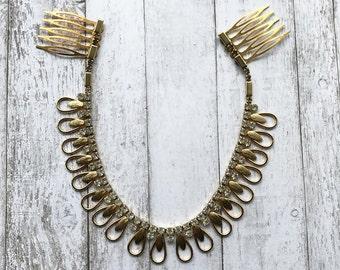 Rhinestone Tiara/ Gold Tiara/ Gold Hairpiece/ Rhinestone Hairpiece/ Boho Hairpiece/ Wedding Hairpiece/ Art Deco Hairpiece/ Rhinestone Comb