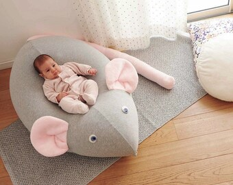 Huge Mouse Beanbag pillow, baby bean bag, kids beanbag pouf, beanbag chair, beanbag sofa,nursery furniture, grey & pink, Floor pillow