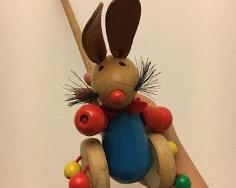 Vintage push toys rabbit
