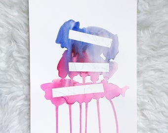 original ABSTRACT watercolor painting- blue, purple, pink