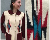 HUGE SALE Reg 500 1940s Amazing Vintage Native American CHIMAYO Blanket Jacket Medium to Large