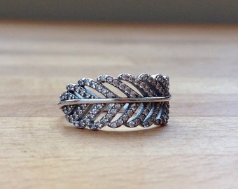 Sterling silver and crystal pandora-style feather ring