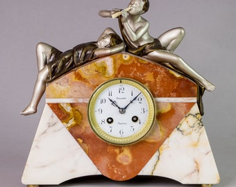 Rare Art Deco French figural marble mantel clock signed SEGA c.1920