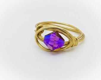 Swarovski Crystal purple Ring Wire Wrapped Gold Purple Ring Swarovski Crystal Jewelry Gold Wire Ring purple wire wrapping ring