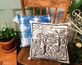 Papercut Bees & Borage Pillow - 100% Cotton, Silkscreened in water based ink, Indigo dyed shibori style back