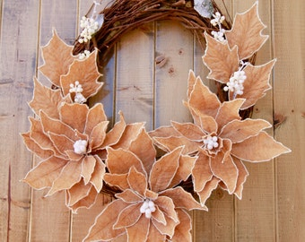 Christmas Wreath with Burlap Poinsettia and Mistletoe