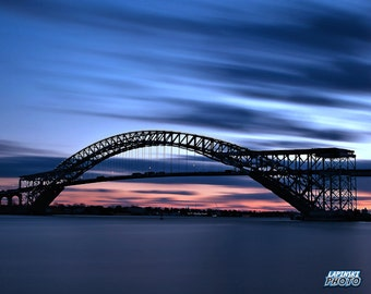 "Bayonne Bridge Photograph, Color Photography, New Jersey Photo, Wall Art, Art Print, Bridge Photo, Sunset, ""Construction Begins"""