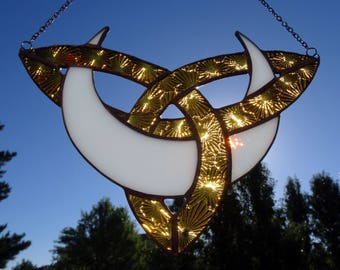 Celtic Knot Moon Stained Glass Suncatcher