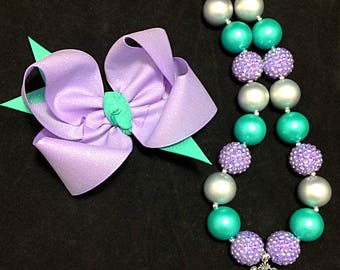 mermaid Chunky necklace, mermaid bubblegum necklace, Mermaid Birthday, mermaid hair bow, photo prop, M2M