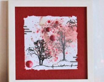 Mixed Media-original art-winter dream in red