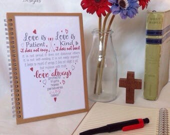 Love Is... 1 Corinthians 13:4-7 notebook / journal - wire bound A6 / A5 notebook - baptism gift - Christian faith gift