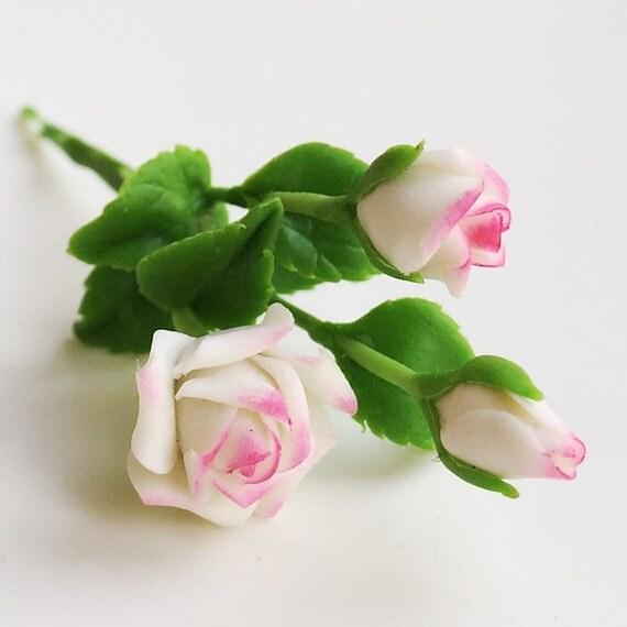 Miniature Flower,Miniature White Rose,Dollhouse Flower,Miniature Garden,Dollhouse Rose,White Rose,Flower