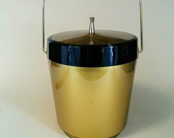 Vintage Black and Gold Ice Bucket, Mid Century, Retro Bar Ware
