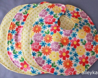 Infant Baby Bibs, Reversible, (brights), Set of 4