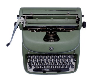 Green portable typewriter in metal with suitcase 1950s ALPINA