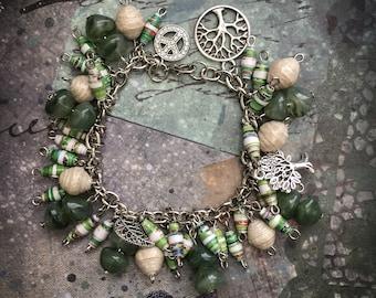 Handmade paper bead bracelet, OOAK jewelry, Fashion bracelet, Chic bracelet, Accessories, Item 202