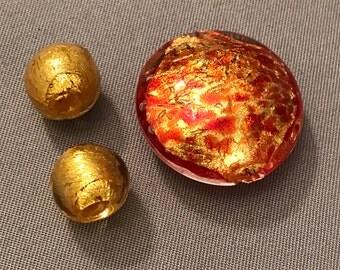 Three (3) Coordinating Murano Glass Beads