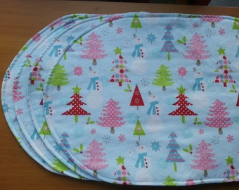 "Modern Christmas Holiday Placemats in ""Christmas Basics"" by Riley Blake, Festive Trees and Snowmen, Reverses to Coordinating Dots"