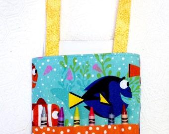 Finding Dory Crayon Tote bag, Dory Artist Tote bag, Dory Travel bag, Finding Dory Kids Activity bag, Kids Travel bag, Christmas gift