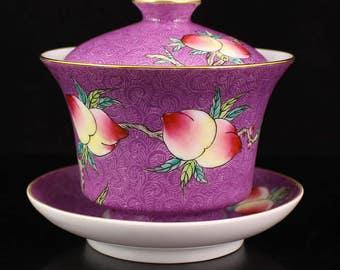 N2930 Chinese Gilt Edges Famille Rose Porcelain Teacup