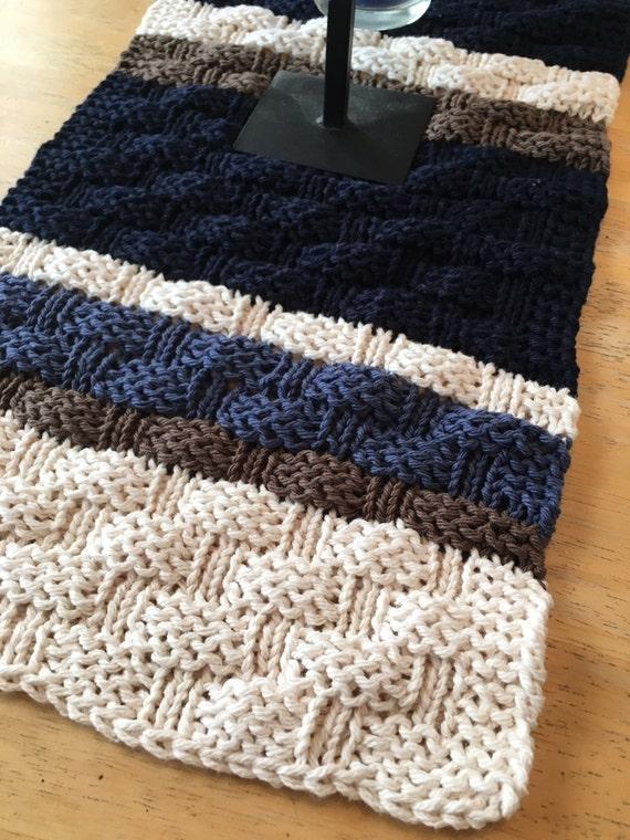 Basket Weave Table Runner Pattern : Basketweave table runner a loom knit pattern from