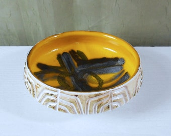 Poole Pottery Delphis Carved Bowl #87 - Abstract Design by Shirley Campbell