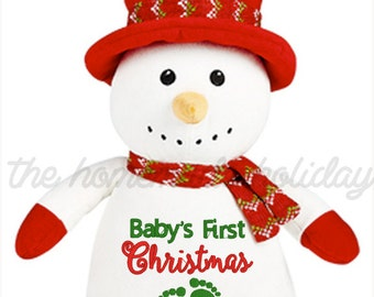 Baby's First Christmas Cubbie, Stuffed Snowman, baby's christmas gift, cubbie, stuffed animal, stuffed elf
