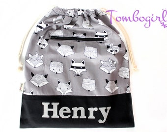 Kids library drawstring bag / library bag / lesson bag - Personalised / Customised name, Australian made, with zip pocket – Grey Animal