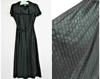 Vintage 40's WW2 Deep Green Black Stripe Sharkskin Taffeta Shawl Collar Belted Pinup Dress SPIEGEL SALLY