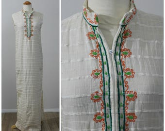 True Vintage 60's 70's Saks Fifth Ave Hippie Tunic Caftan Maxi Dress Embroidered Collar Natural Undyed Cotton Bohemian