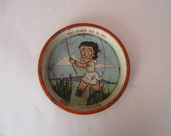 Vintage Mexican Lulu Fishing Tin Tray, Vintage Mexican Lulu Tray, Lulu, Mexican Lulu Tray, Mexican Cartoon Tray, Lulu Cartoon Tray