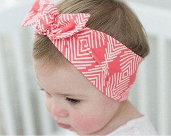 Bright Geometric - baby top knot headband