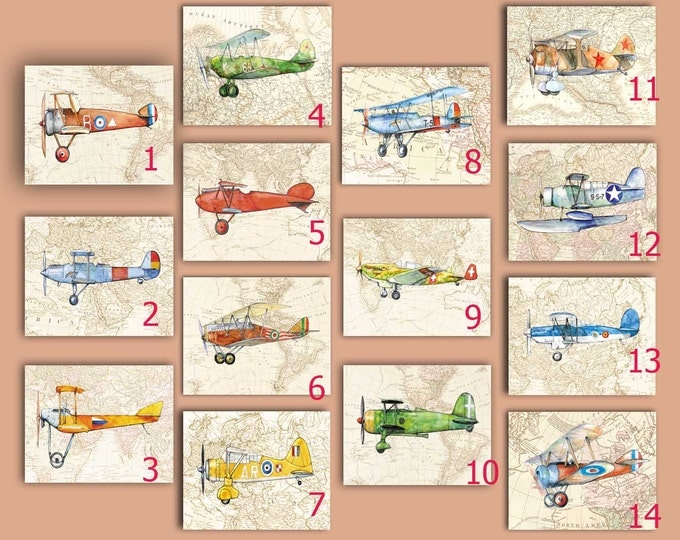 Airplane decor ANY 6 prints Vintage prop driven airplane watercolor Retro military aircraft poster Boy's nursery wall art