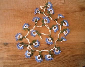 blue needle lace flower 20 pieces