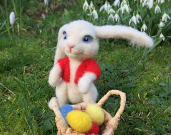 needle felted bunny rabbit with basket of eggs