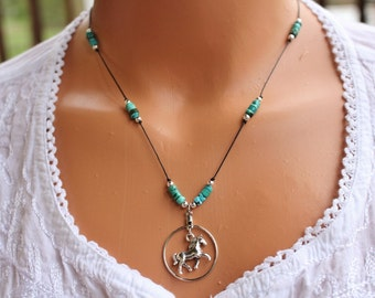 Silver horse charm necklace, silver and turquoise necklace, horse lovers jewelry, charm necklace, teen jewelry, gifts for her
