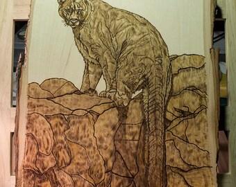Carl - Cougar. Wood Burning on Basswood