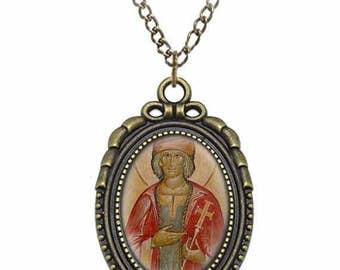 St Gerald of Aurillac Catholic Necklace Bronze Medal w Chain Oval Pendant Saint Vintage