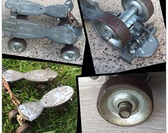 Hustler Speed King metal skates/toys/recreation/sterling illinois/leather/wheels/bearings