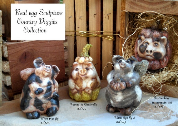 Unique country pig rustic home decor hand made figurine Original work pumpkin pig flying pig angel pig boston pig collector real egg designs