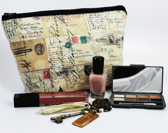 Large Cosmetic Bag - Makeup Bag - Accessory Bag - Make up Bag - Toiletry Bag - Gadget Bag -  Jewelry Pouch in Eclectic Elements