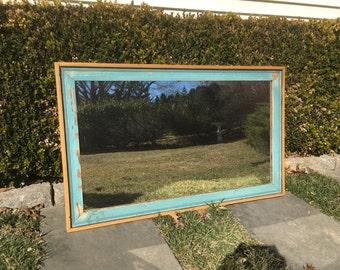 Rustic Mirror, Large Mirror, Blue Mirror