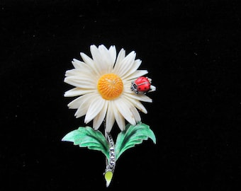 Quality Daisy Pin with Ladybug, marcasites, sterling, enamel, German