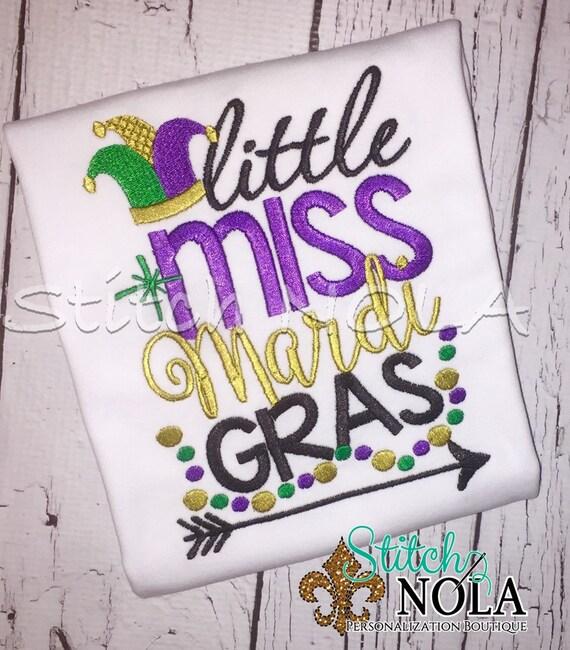 SHIPS FAST!!  Little Miss Mardi Gras Shirt or Bodysuit