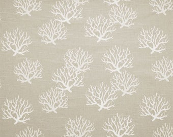 Coastal Gray & Sand Fabric by the Yard Designer Coral Print Fabric Cotton Drapery or Upholstery Fabric Gray and Beige Coastal Fabric B140