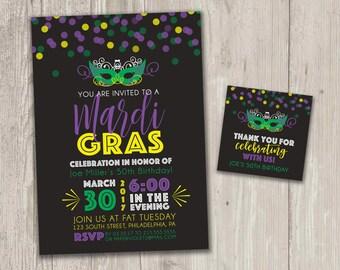 Mardi Gras Invitation, New Orleans, Mardi Gras Invitation | Birthday Invitation | Digital File