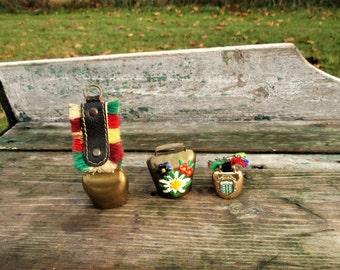 Vintage set of 3 mini miniature bells Cowbell Folklore Ahrntal Keychain Lovely